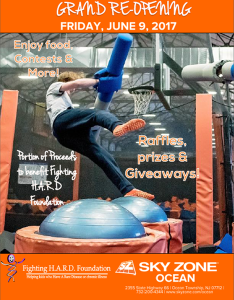Sky Zone Ocean Fundraiser Set For Foundation Helping Kids Fight Rare Diseases June 9, 2017!